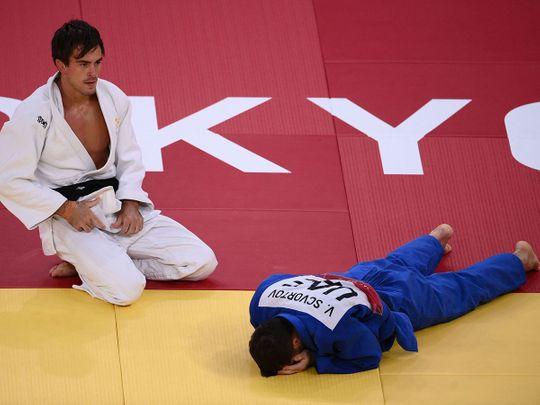 Viktor Scvortov is dismayed following defeat by Tommy Macias