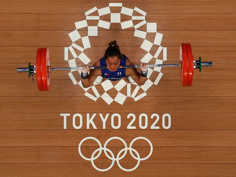 Hidilyn Diaz of Philippines winning the women's 55kg weightlifting event, at the Tokyo 2020 Olympic Games