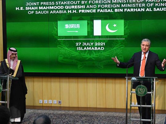 Pakistan's Foreign Minister Shah Mahmood Qureshi  Saudi Foreign Minister Prince Faisal Bin Farhan Al-Saud