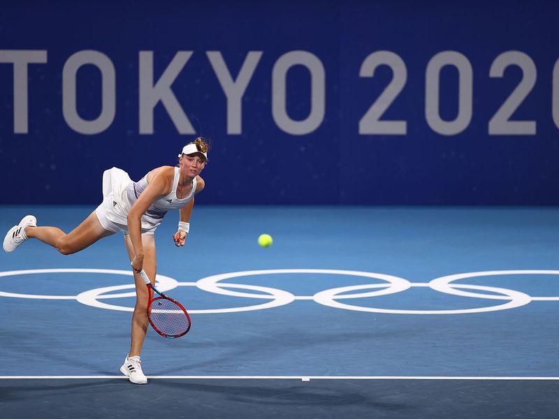 Tennis star Elena Rybakina of Kazakhstan in action against Donna Vekic of Croatia