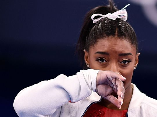 USA's Simone Biles withdrew from the women's team final