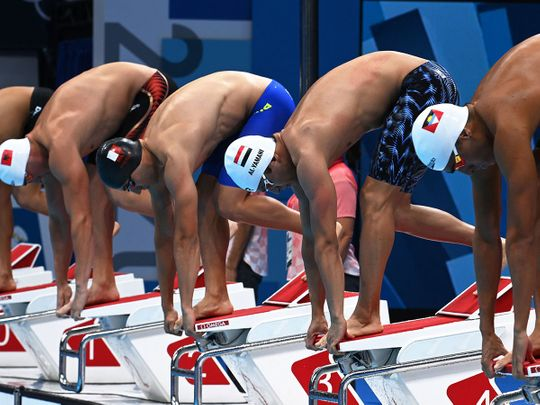 Yemen's Mokhtar Al Yamani won heat 3 of the men's 100m freestyle qualifying, with the UAE's Yousef Al Matrooshi third