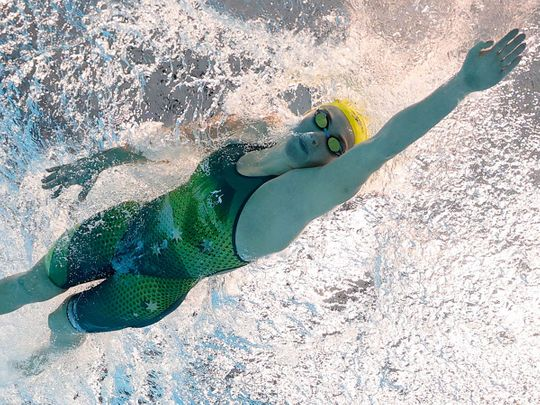 Ariarne Titmus of Australia in action in the women's 200m freestyle
