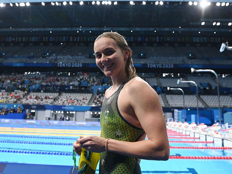 Australia's Ariarne Titmus leaves the pool after winning the final of the women's 200m freestyle