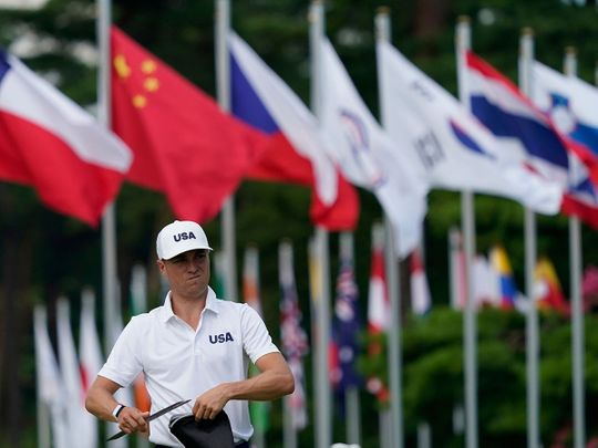 Justin Thomas during practice at the Kasumigaseki Country Club