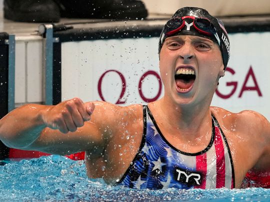 Katie Ledecky, of the United States, reacts after winning the women's 1500m freestyle