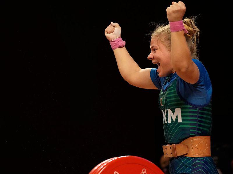 Polina Guryeva of Turkmekistan celebrates gold