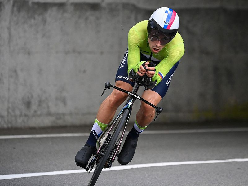Slovenia's Primoz Roglic competes in the men's cycling road individual time trial