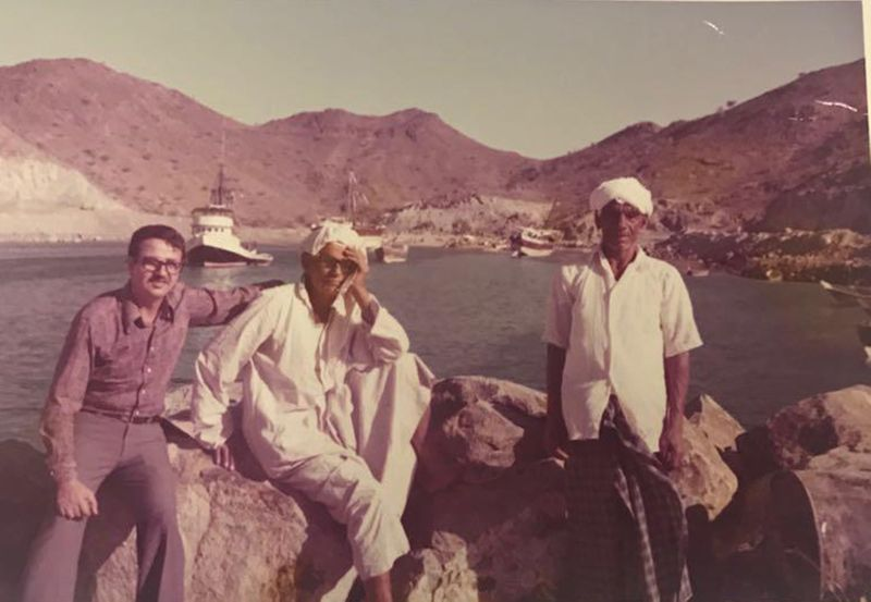 An undated photo of Ahmad Golchin (far left) in the UAE from early 1970s