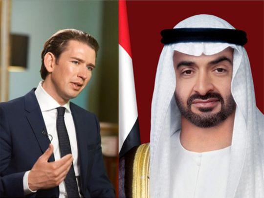 ولي عهد أبوظبي نائب القائد العام للقوات المسلحة الإماراتية الشيخ محمد بن عايد آل نهيان - المستشار الاتحادي لجمهورية النمسا سيباستيان كورتس.