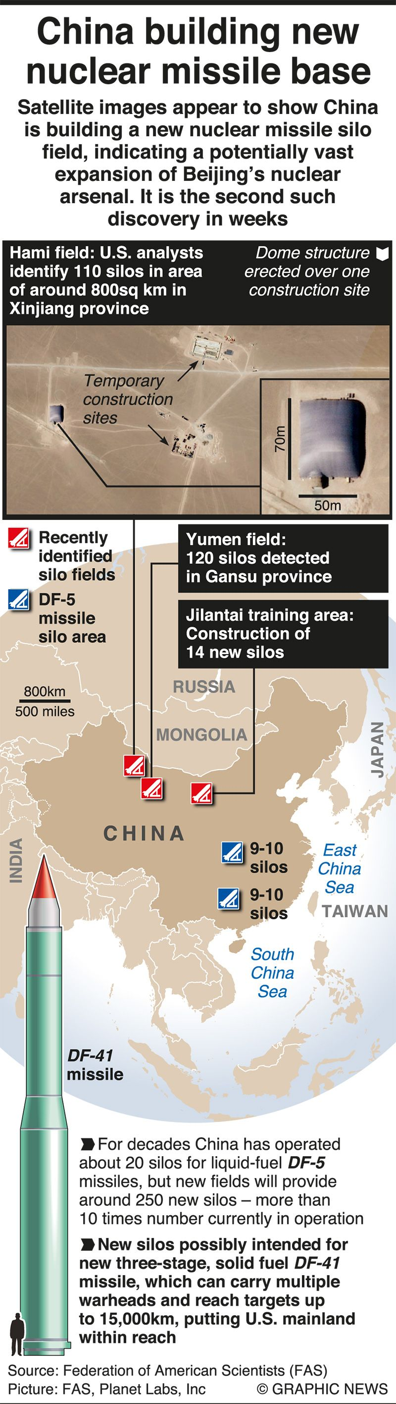 Infographics: China building new nuclear missile base