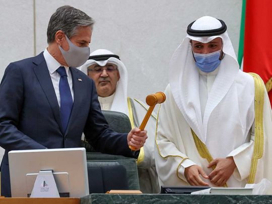 US Secretary of State Antony Blinken Speaker Marzouq Ali Mohammed Al Ghanim