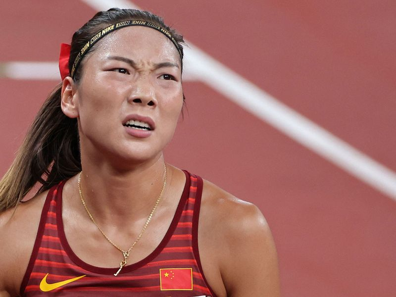 China's Chunyu Wang does not look too pleased after the women's 800m semi-final