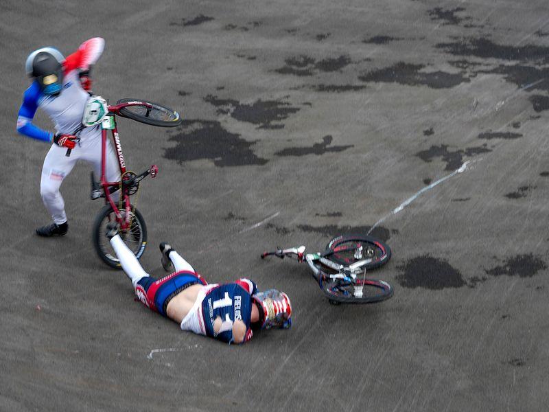 Connor Fields crashes during a men's BMX semi-finals