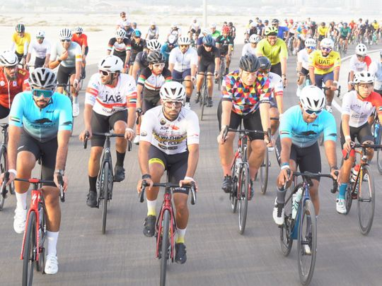 The Abu Dhabi Cycling Club (ADCC) riders on Hudayriat Island to mark Tadej Pogacar and UAE Team Emirates' Tour de France win