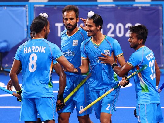 Dilpreet Singh of India celebrates after defeating Great Britain