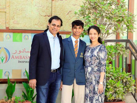Nishil Agarwal from Ambassador School, with his parents Mamta Agarwal and Mukund Agarwal-1627827413700