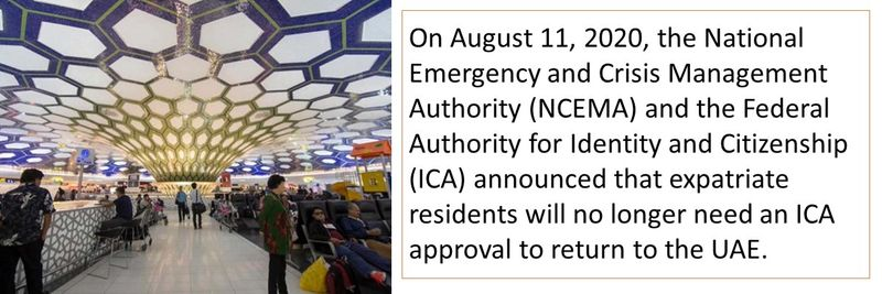 On August 11, 2020, the National Emergency and Crisis Management Authority (NCEMA) and the Federal Authority for Identity and Citizenship (ICA) announced that expatriate residents will no longer need an ICA approval to return to the UAE.