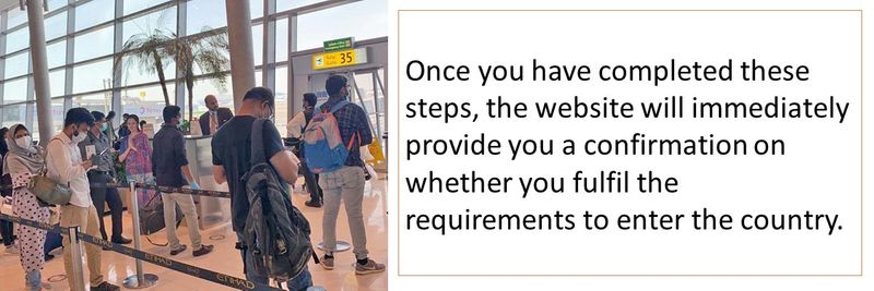 Once you have completed these steps, the website will immediately provide you a confirmation on whether you fulfil the requirements to enter the country.
