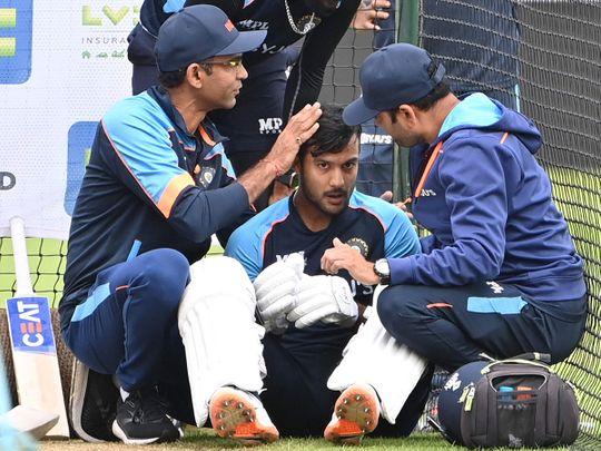 India's Mayank Agarwal it treated after an injury in the nets