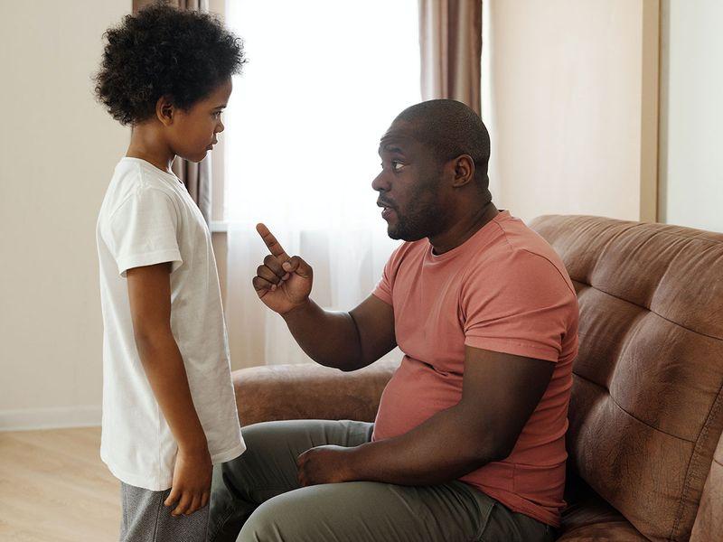 Parent scolds child