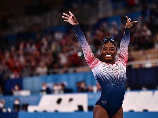 USA's Simone Biles competes in the artistic gymnastics women's balance beam final
