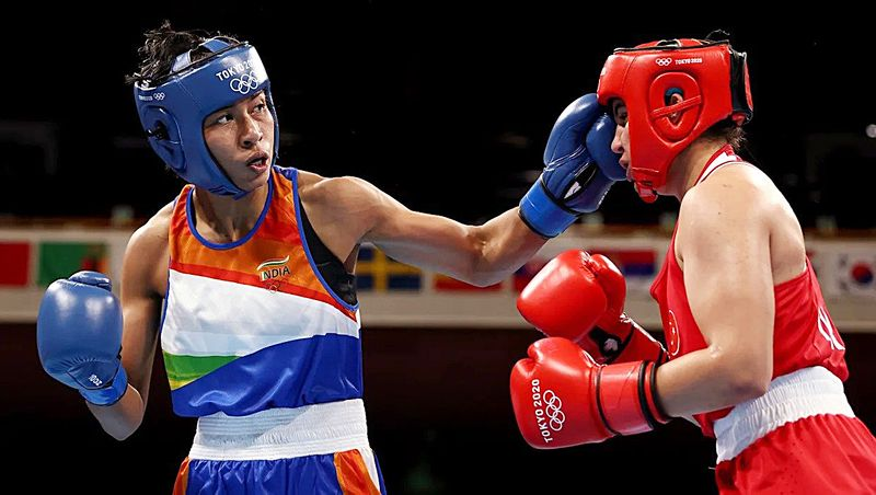 Indian boxer Lovlina Borgohain in action during her semifinal bout in the welterweight 64-69kg category, at Tokyo Olympics 2020, in Tokyo on Wednesday