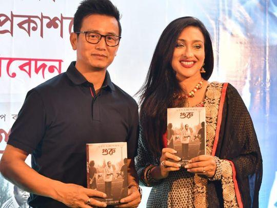 Football - Baichung Bhutia & actor Rituparna Sengupta at the book launch on PK.