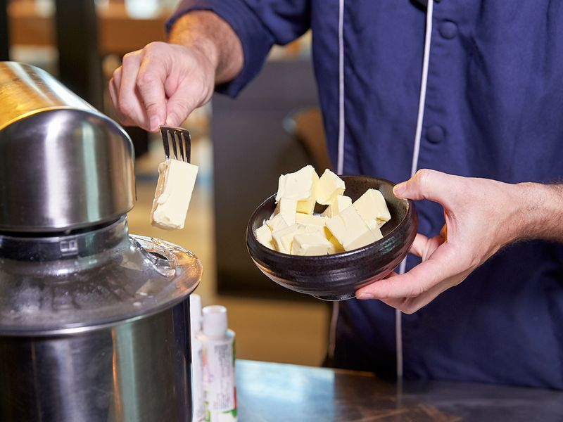 Making buttercream for macarons