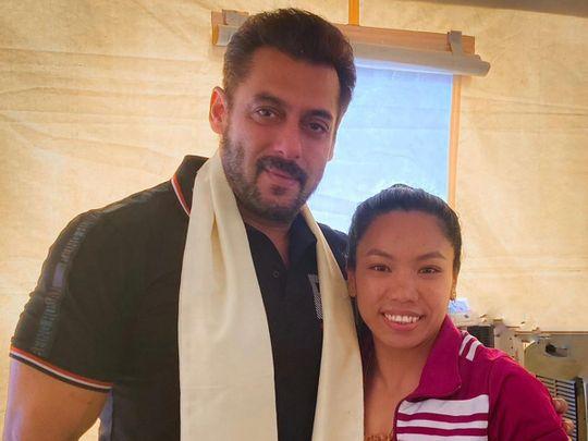 Salman Khan with Olympian Mirabai Chanu