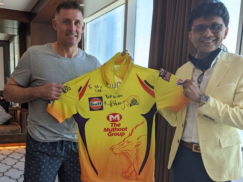 Anis Sajan with Chennai Super Kings' Michael Hussey last season