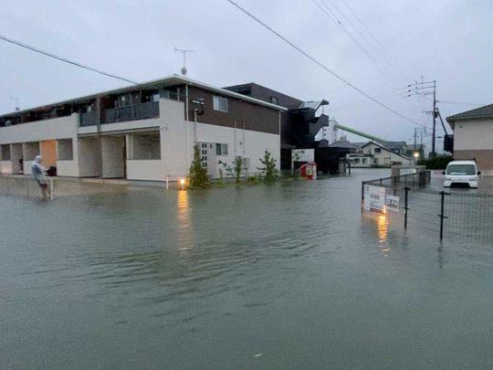 Japan rivers flood rain