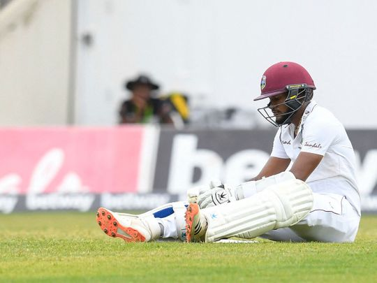 Kraigg Brathwaite of West Indies after being run out during day 2 of the 1st Test against Pakistan