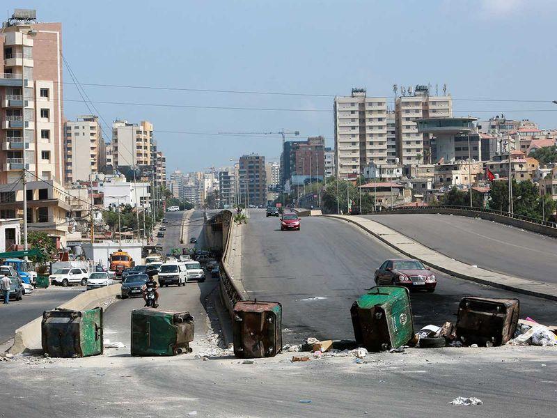 Lebanon garbage bins protest fuel crisis