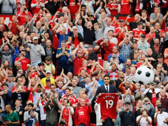 Raphael Varane is unveiled at Old Trafford