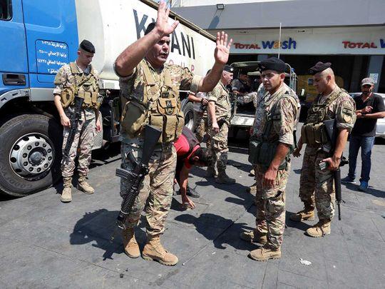 lebanon army gas crisis fuel station sidon