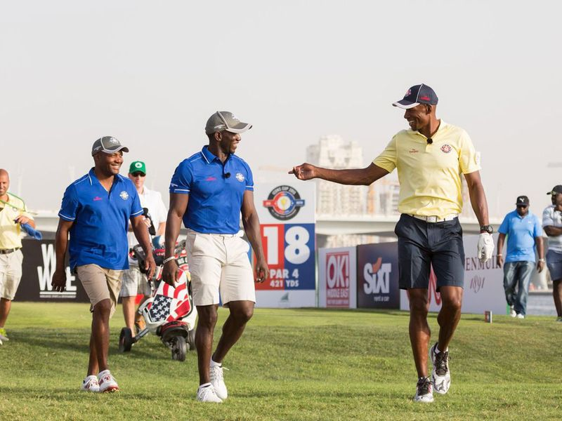 Brian Lara, Dwight Yorke and Ray Allen during the Icons Cup 2015 Dubai
