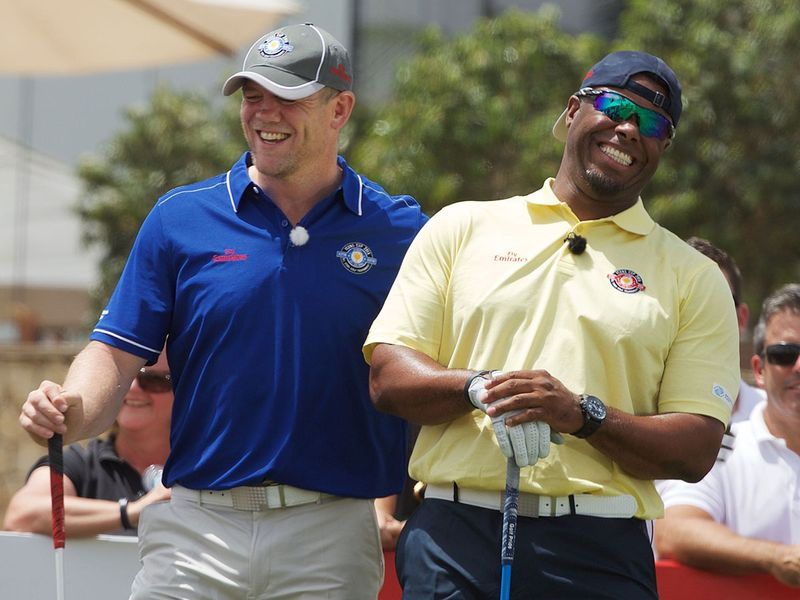 Ken Griffey Jr and Mike Tindall during the Icons Cup 2015 Dubai