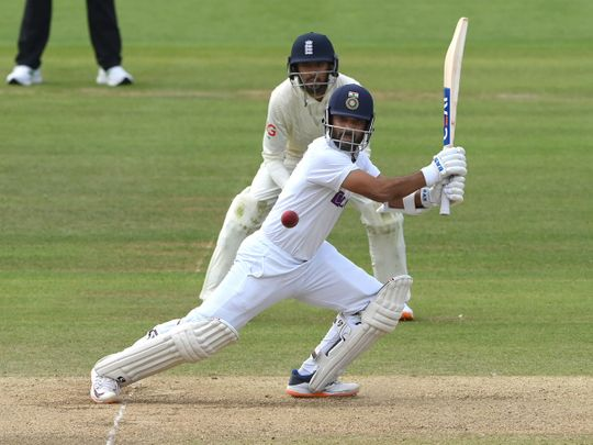 Ajinkya Rahane plays a shot during the 4th day of the second Test match between India and England at Lord's
