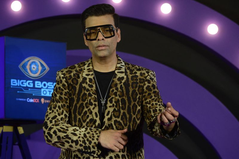 Bollywood film producer and director Karan Johar poses during a promotional event of a reality TV show in Mumbai on August 7, 2021.