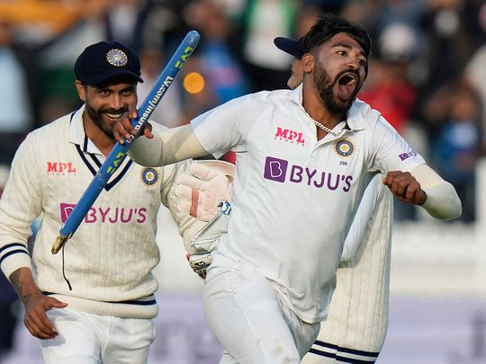 India's Mohammed Siraj celebrates after taking the wicket of England's James Anderson, with India winning the 2nd Test at Lord's