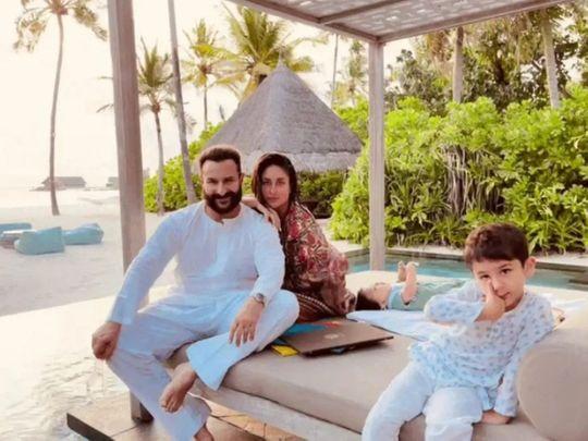 Kareena Kapoor with Saif, Taimur and Jeh