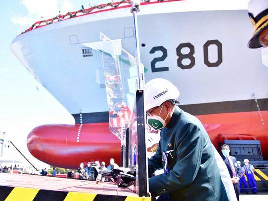 President of Pakistan Dr Arif Alvi navy corvette
