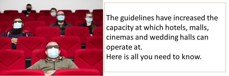 The guidelines have increased the capacity at which hotels, malls, cinemas and wedding halls can operate at. Here is all you need to know.