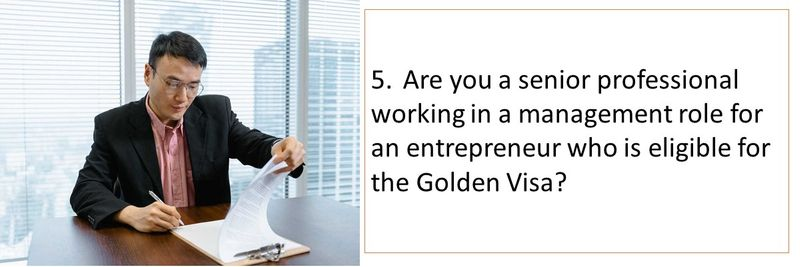 5.Are you a senior professional working in a management role for an entrepreneur who is eligible for the Golden Visa?