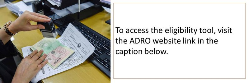 To access the eligibility tool, visit the ADRO website link in the caption below.