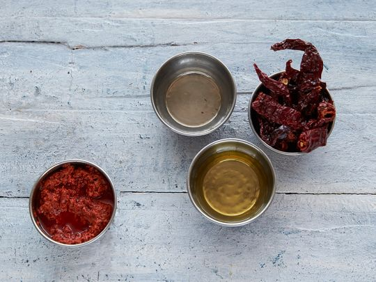 Ingredients for red chilli paste