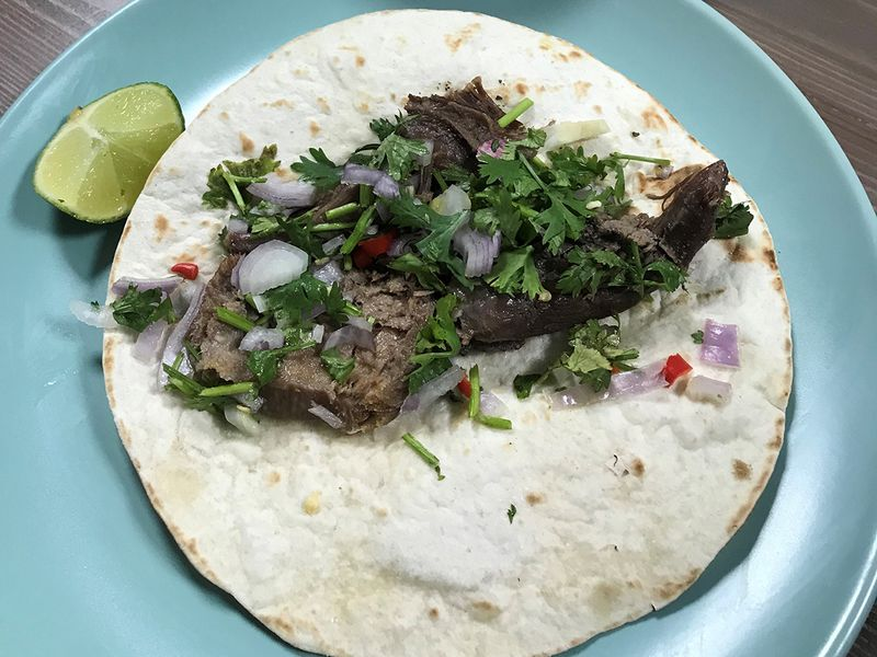 Mexican beef tongue taco