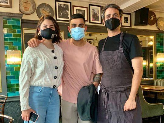 Anushka Sharma and Virat Kohli with chef Rishim Sachdeva