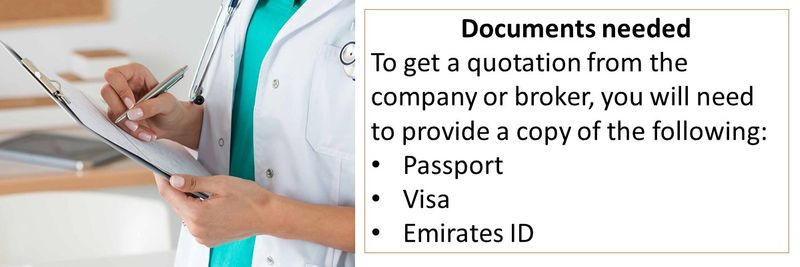 Documents needed To get a quotation from the company or broker, you will need to provide a copy of the following: Passport Visa Emirates ID